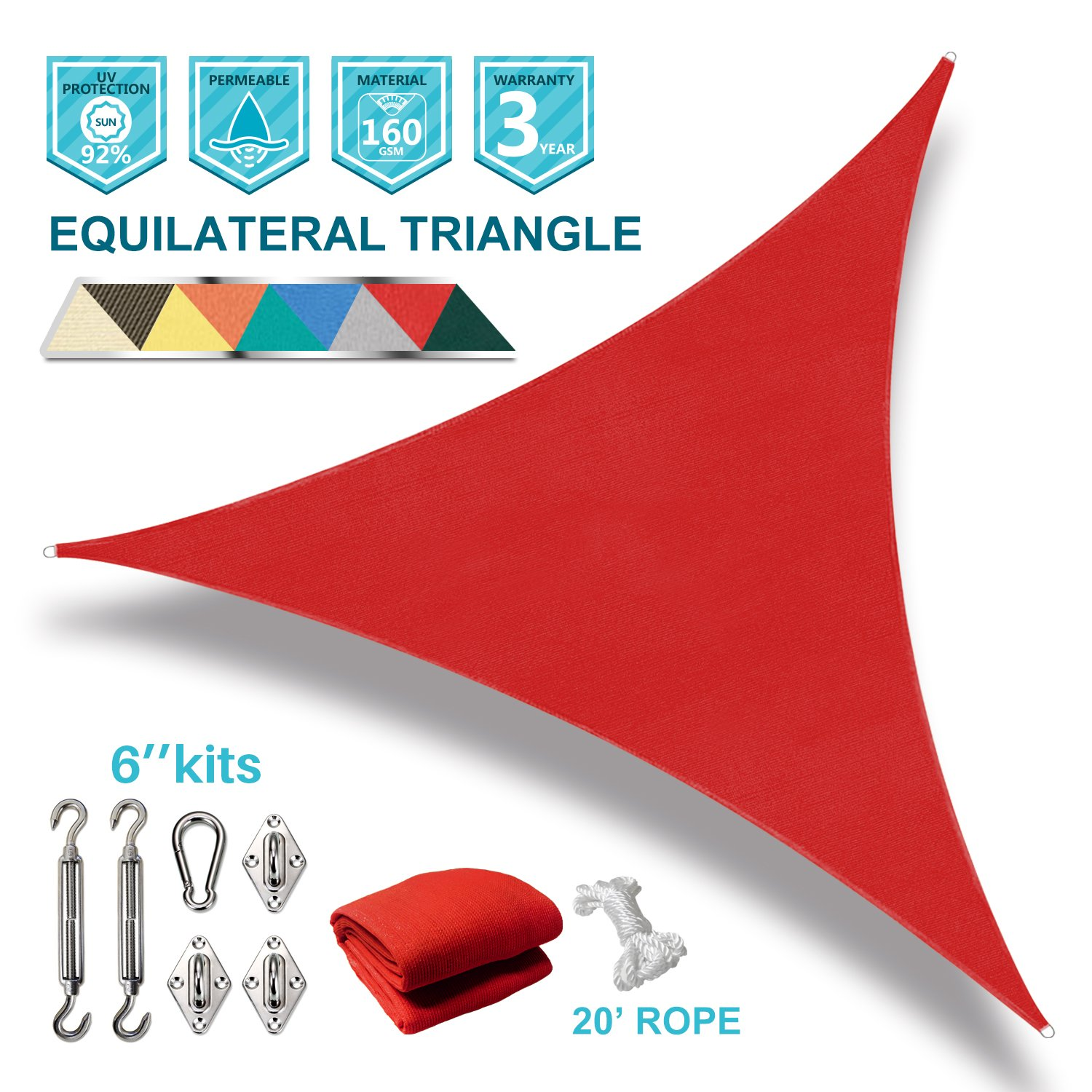 Coarbor 8'x8'x8' Triangle Sun Shade Sail with Hardware kit Perfect for Patio Deck Yard Outdoor Garden Permeable UV Block Shade Cover-Red