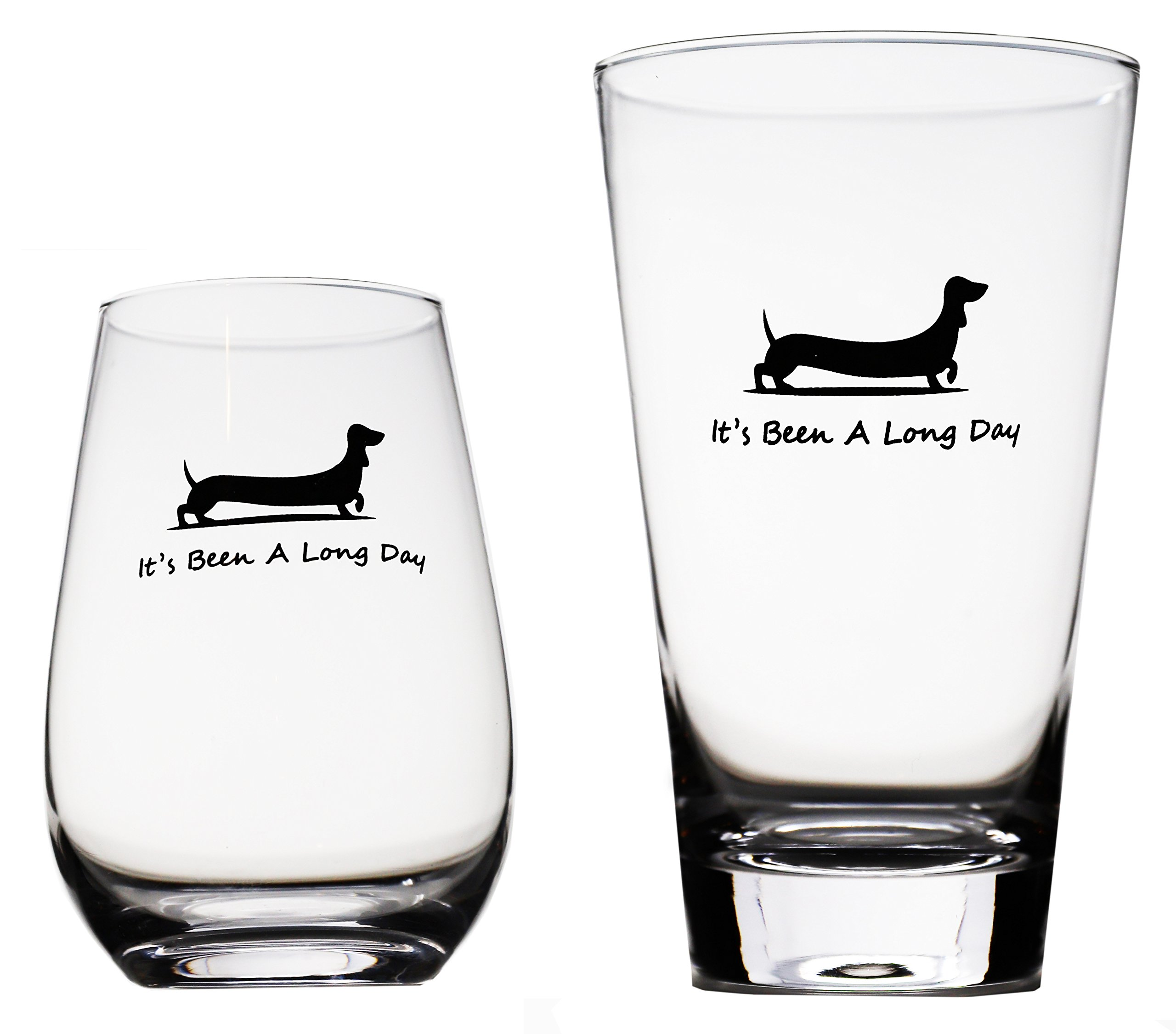 Momstir It's Been a Long Day Dachshund Funny Novelty Beer Glass & Wine Glass Combo 16oz Wiener Dog Beer Gifts Dog Beer Gifts Present for Dad Papa Grandpa