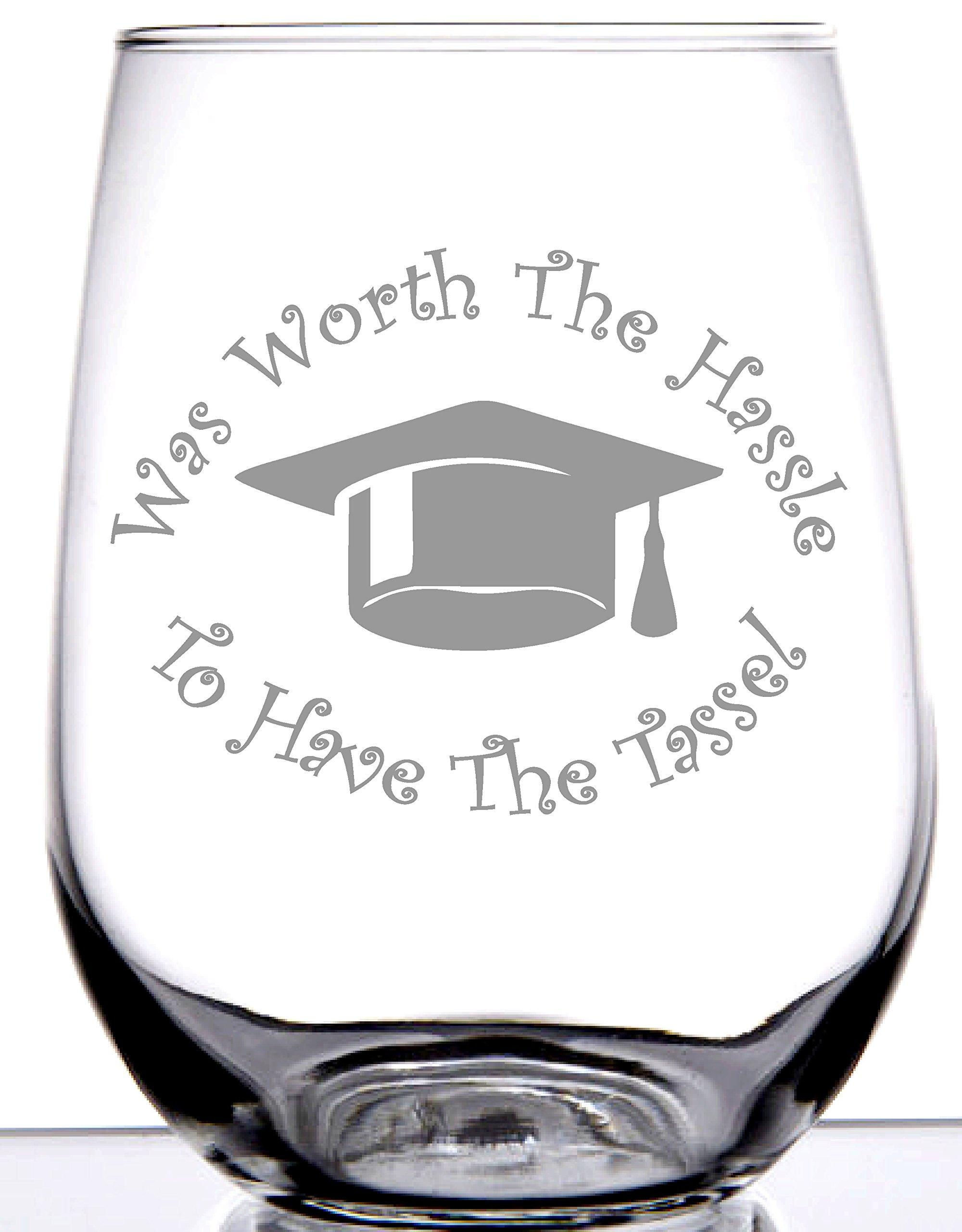 IE Laserware Graduation Was Worth the Hassle to Have the Tassel! 17 oz Stemless Etched Wine Glass