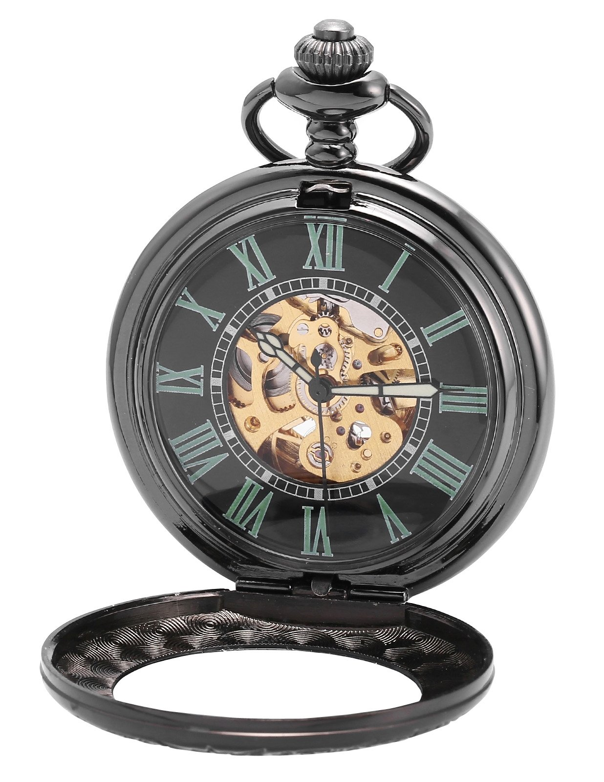 AMPM24 Retro Automatic Mechanical Pocket Watch Roman Number Black Dial WPK200