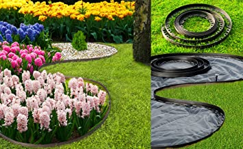 flexible plastic garden edgingnew edging 10 meters for borderspathslawn - Plastic Garden Edging
