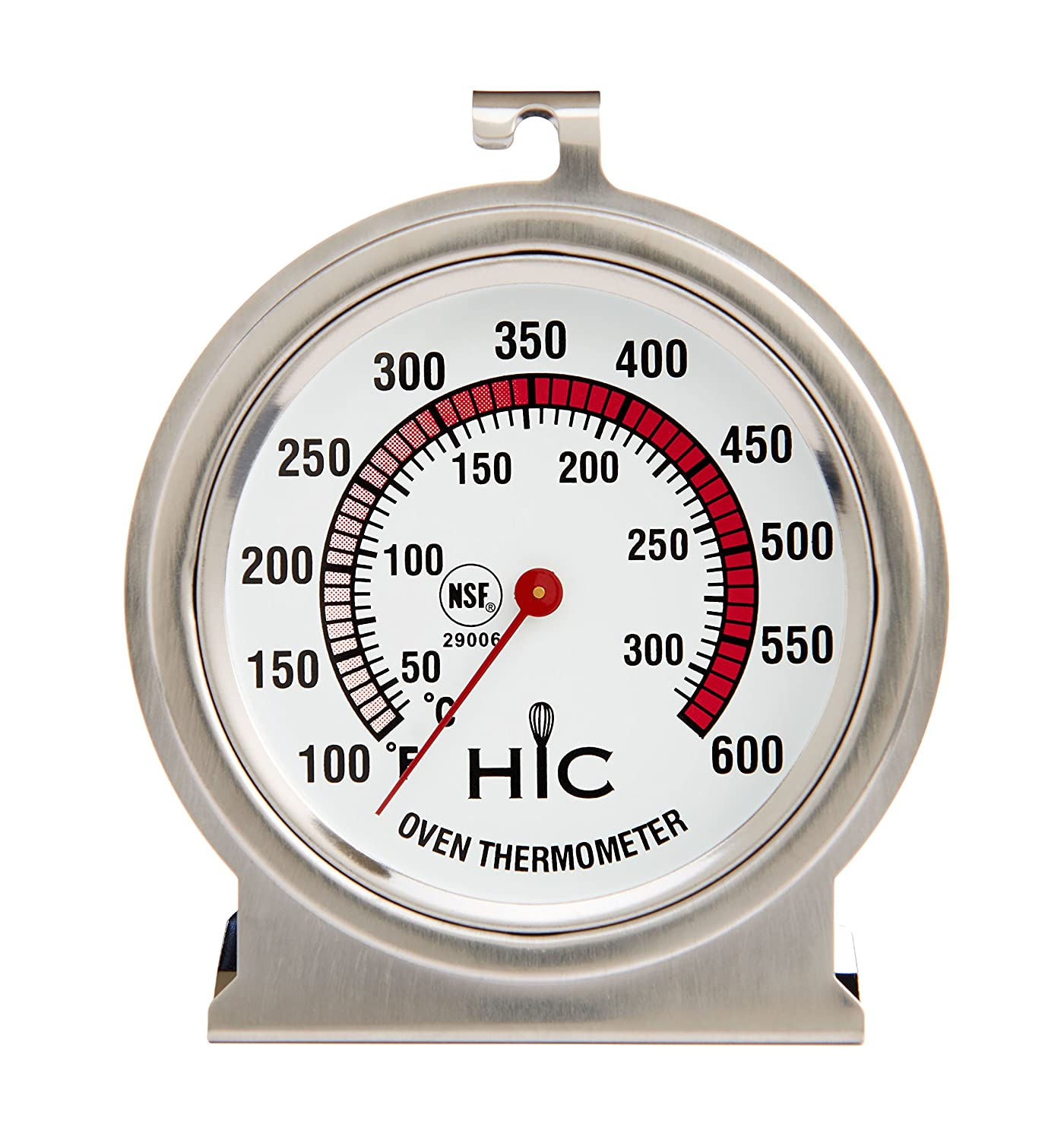 HIC Roasting Refrigerator Freezer Thermometer, Large 2.5-Inch Easy-Read Face with Safe Temperature Guide, Stainless Steel HIC Harold Import 29005