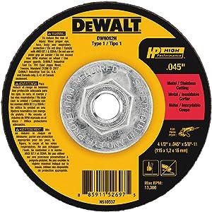 """DEWALT DW8062H 4-1/2"""" X .045"""" X 5/8""""-11 HP Type 1 Cutting Wheel"""