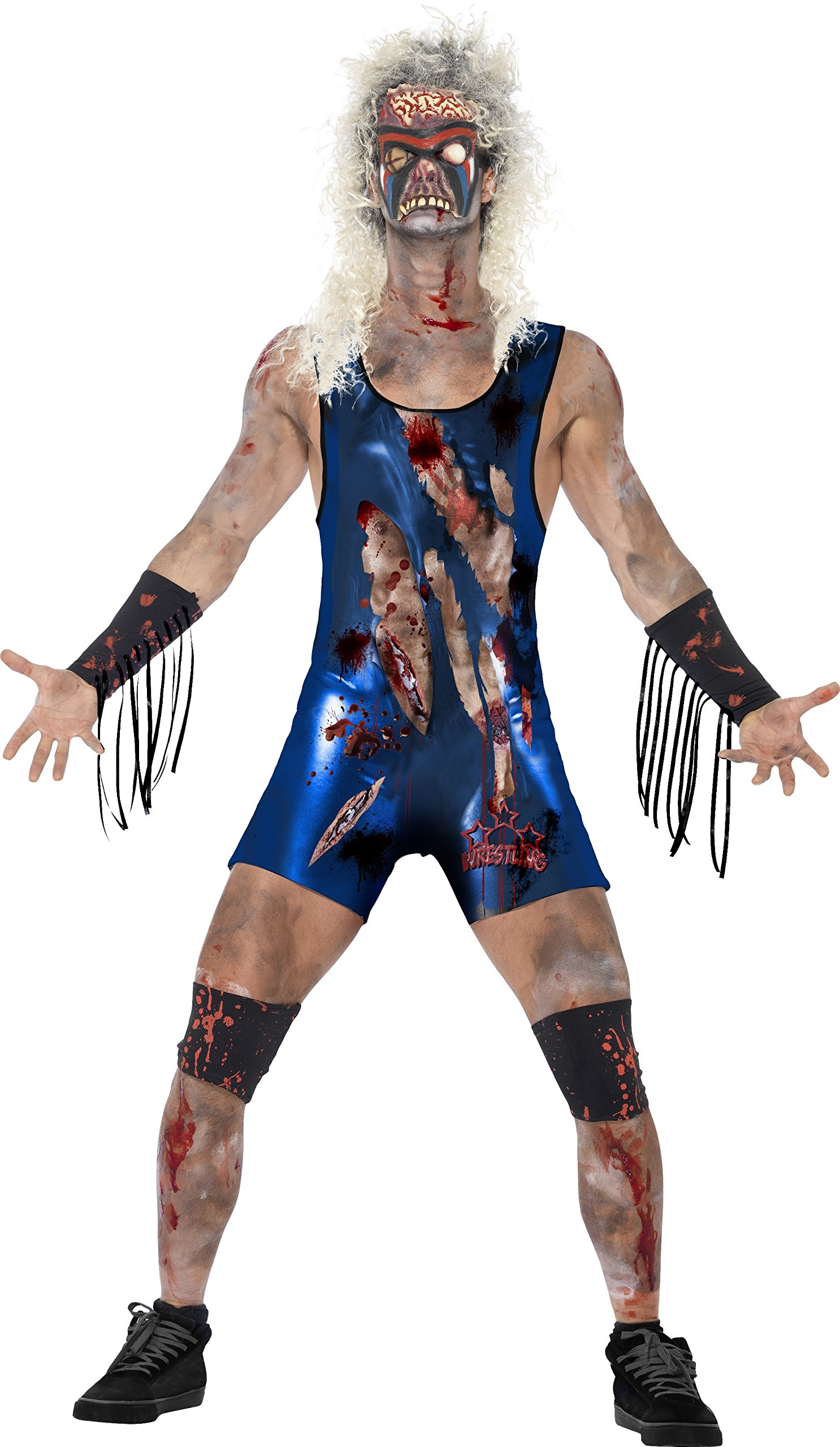 Smiffy's Men's Zombie Wrestler Costume, Bodysuit, Latex Mask, Leg and Arm Cuffs, Zombie Alley, Halloween, Size M, 44358