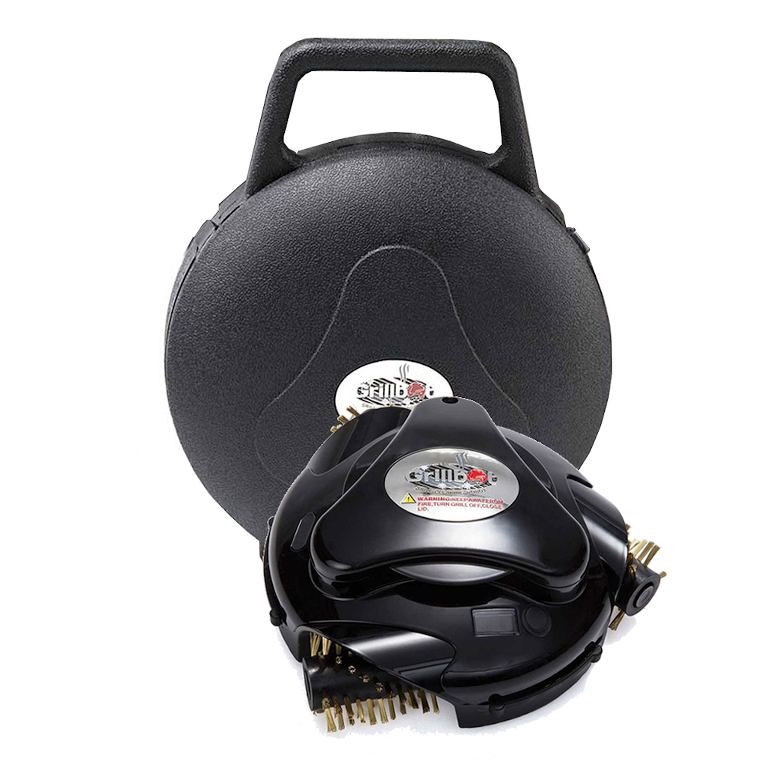 Grillbot Automatic Grill Scrubber and Cleaner with Protective Carrying Case, includes pre-installed Brass Brushes (Black) by Grillbot