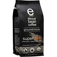 Ethical Bean Fair Trade Organic Coffee, Superdark French Roast, Ground Coffee - 227g Bag