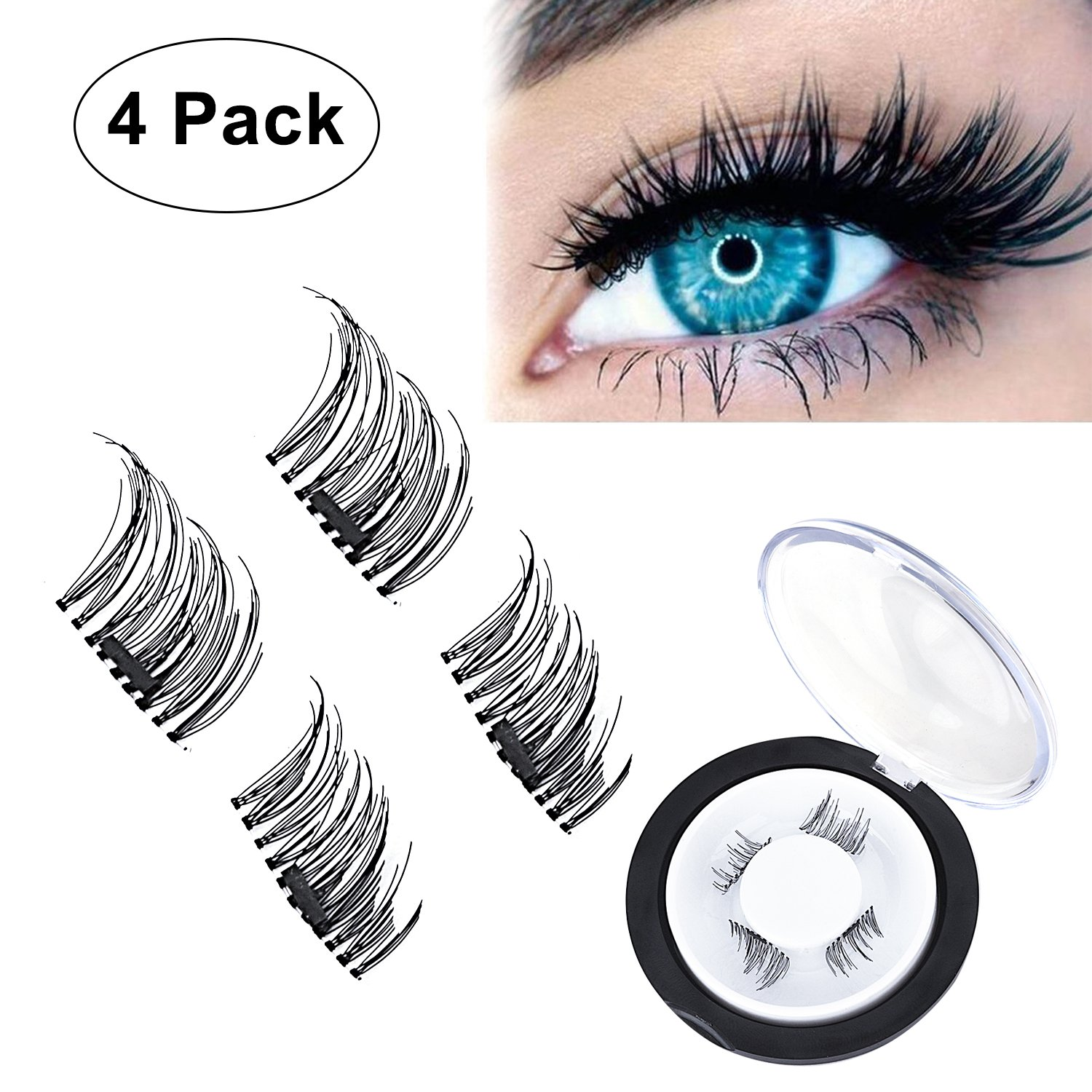 b004cd84c30 Magnetic False Eyelashes (1 Pair 4 Pieces) by WEBSUN, 0.2mm Ultra-thin 3D  Design Natural Dual Magnetic Fake Eyelashes Reusable No Glue: Amazon.co.uk:  Beauty