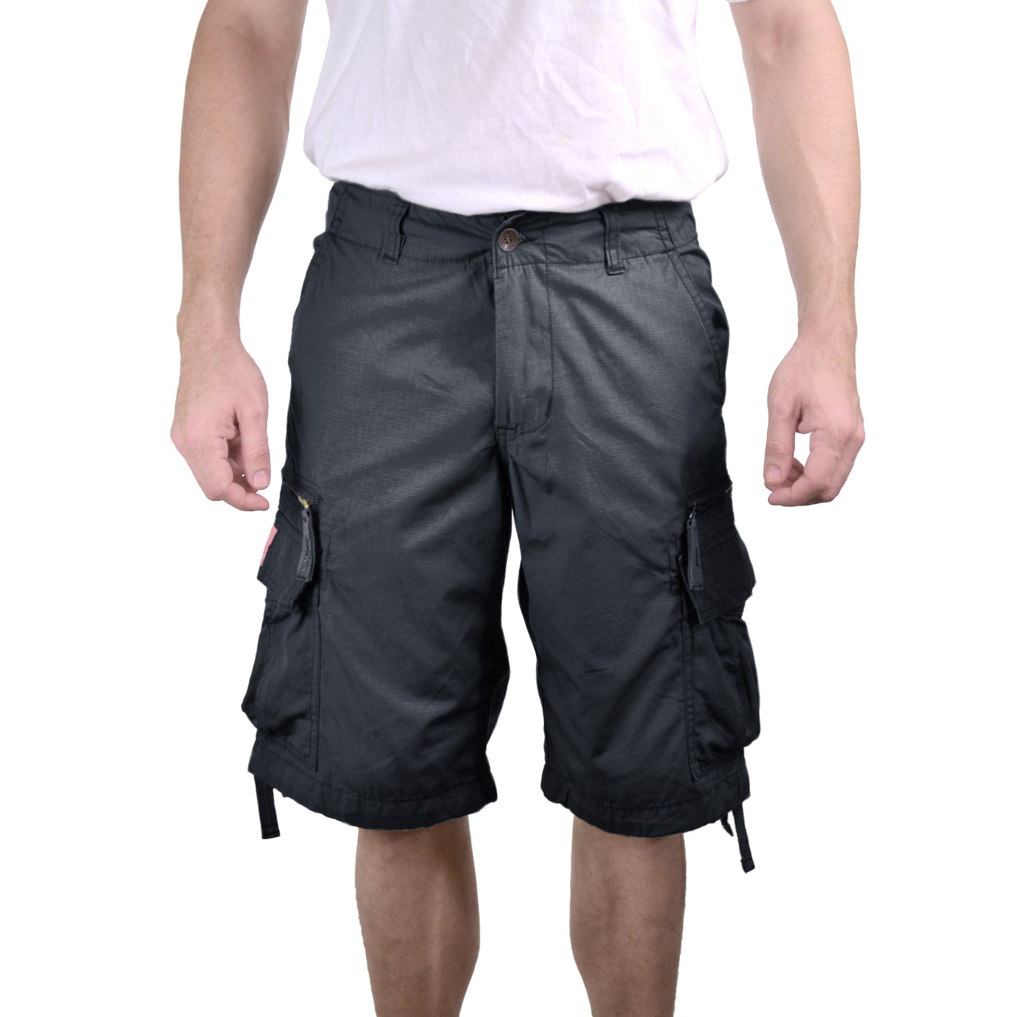 Molecule Men's Zipped Railers Cargo Shorts - Lightweight Cotton, Zipped Pockets | USA 33''/M (Tag L) Coal Black