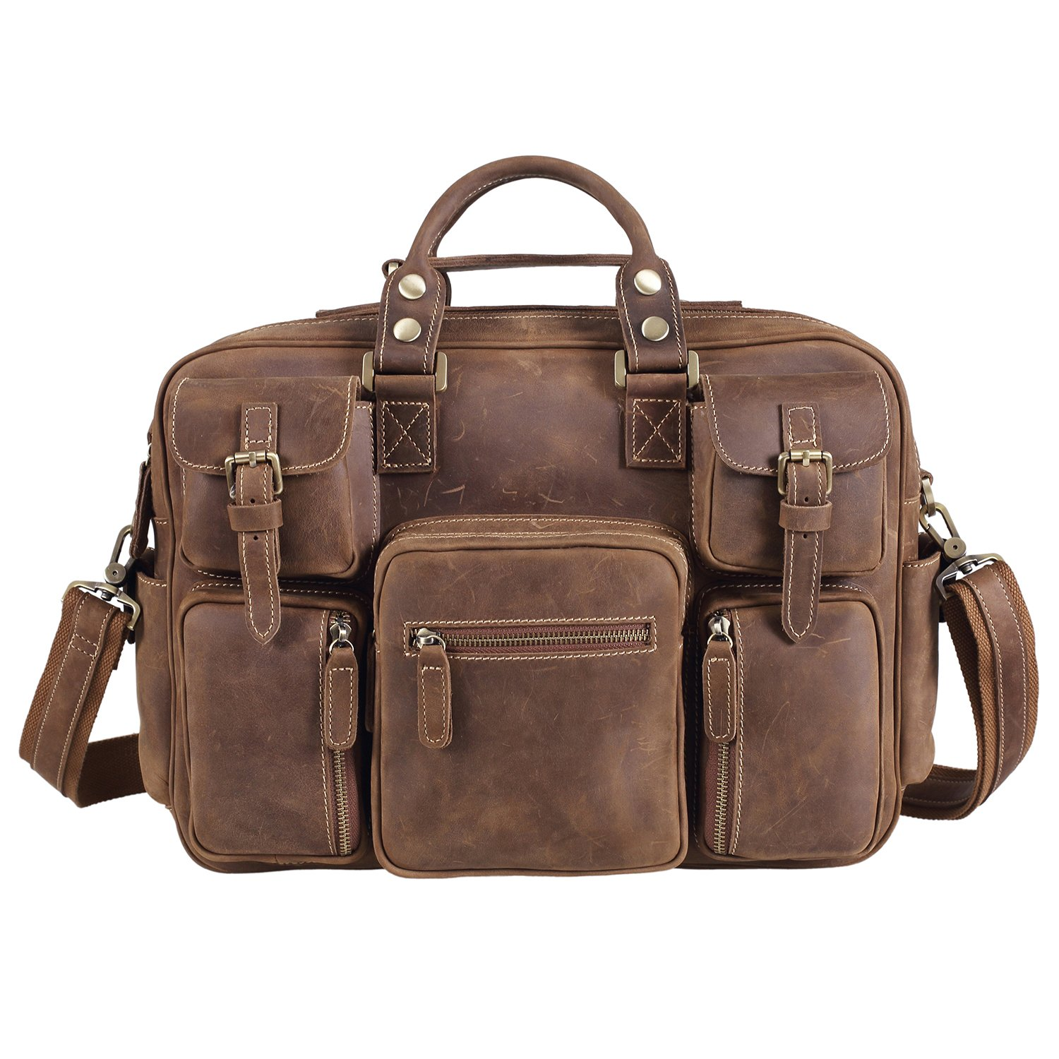 Texbo Vintage Genuine Cowhide Leather Messenger Briefcase Shoulder Bag Tote by Texbo (Image #2)
