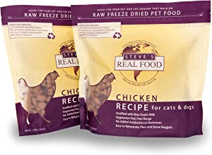 Steve's Real Food Freeze-Dried Raw Food Diet for Dogs and Cats, 2-Pack, Chicken Recipe, 1.25 lbs in Each Bag, Made in The USA, Pour and Serve Nuggets, Vegetarian Fed & Free Range