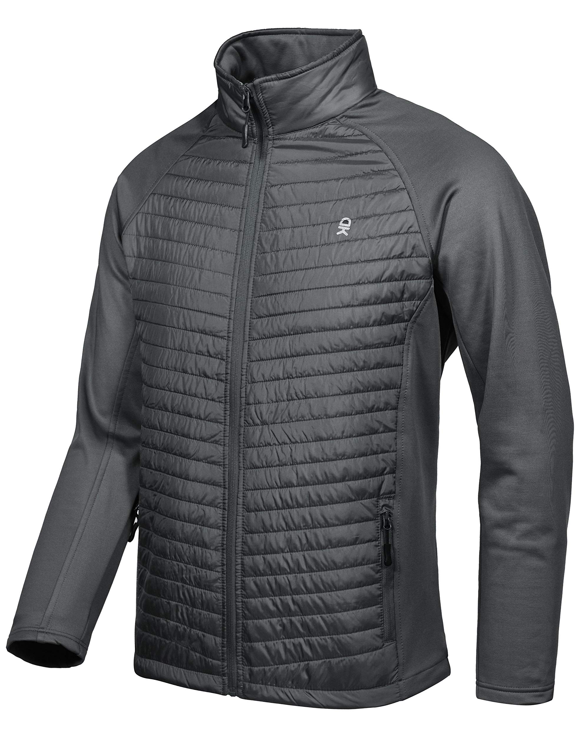 Little Donkey Andy Men's Insulated Jacket, Thermal Hiking Hybrid Jacket Gray Size L by Little Donkey Andy