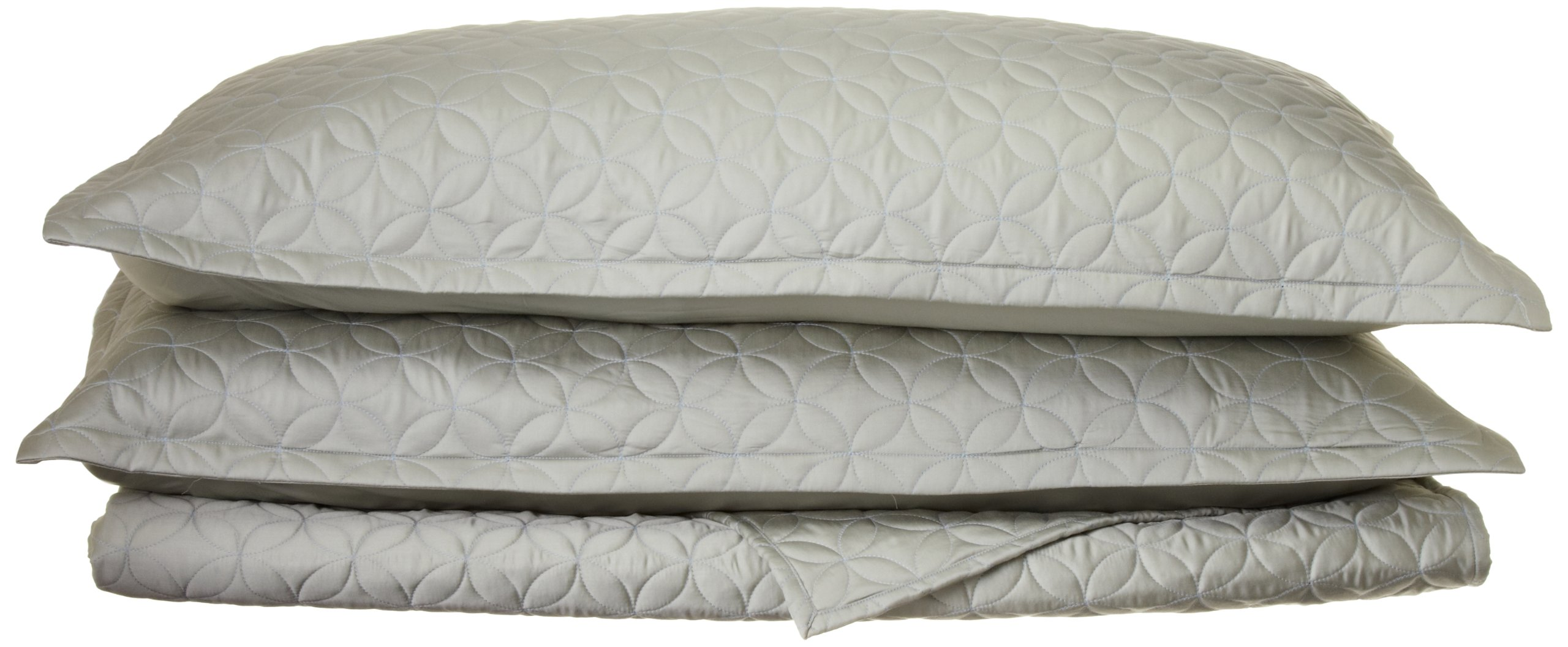 Tuscany Fine Linens Livorno Beechwood Modal Quilted Coverlet Set, Seafoam, Queen Oversized