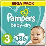 Pampers Baby-Dry Windeln Größe3 (1–10kg), Luftkanäle für atmungsaktive Trockenheit die ganze Nacht, Giga Pack, 1er Pack (1 x 136 Stück)