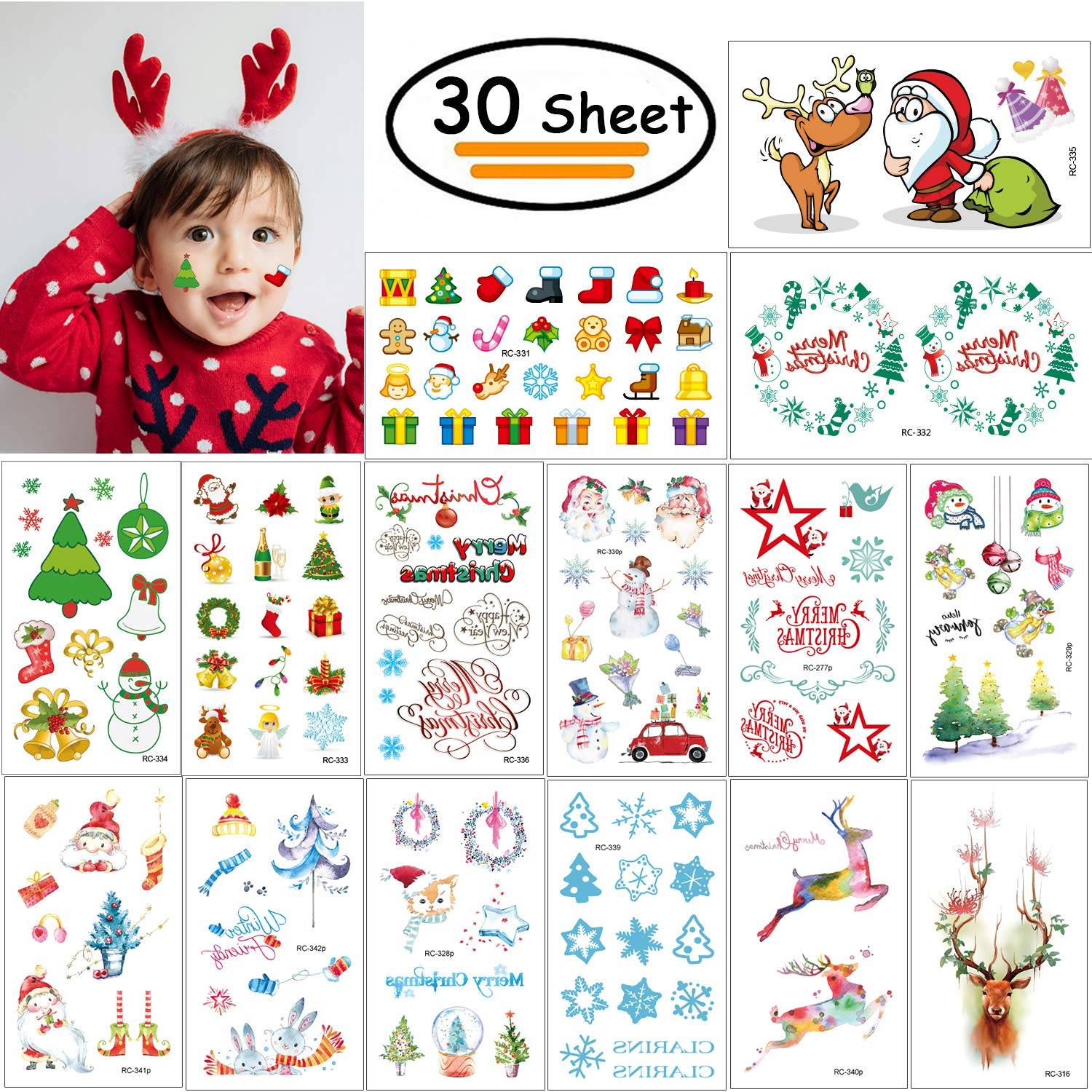 Vibury Christmas Temporary Tattoos for kids, 30 Sheets Christmas Holiday Children's Party Tattoos for Kids Adults Party Bag Filler Stocking Filler 30 Sheets Christmas Holiday Children' s Party Tattoos for Kids Adults Party Bag Filler Stocking Filler