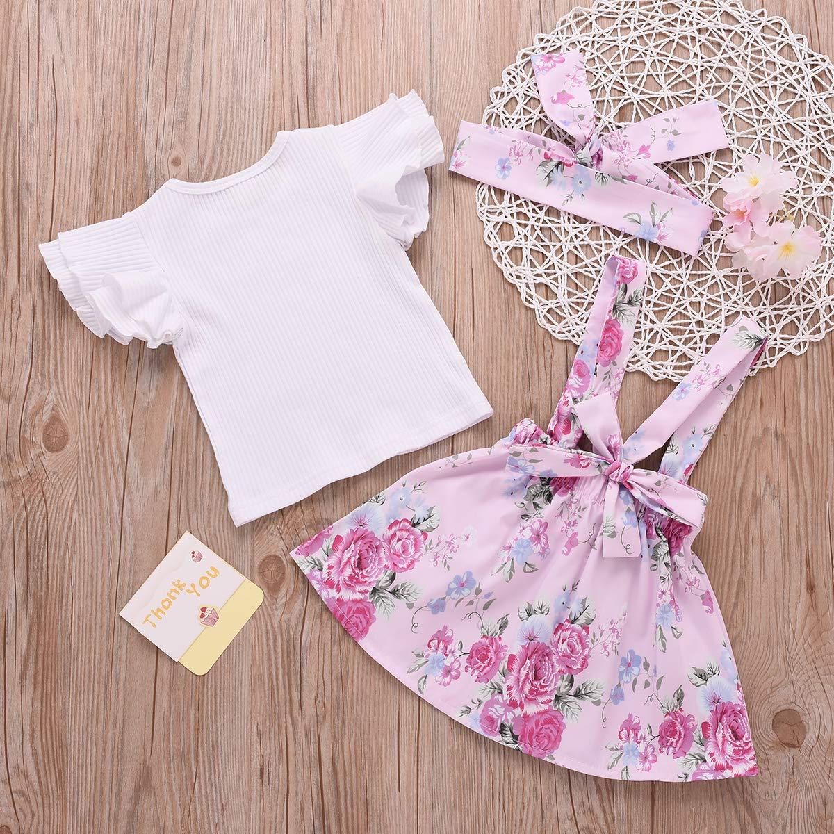 Baby Girls Floral Skirt Sets Ruffles Short Sleeve Shirt Bow Flower Skirt Headband Suspender Outfits