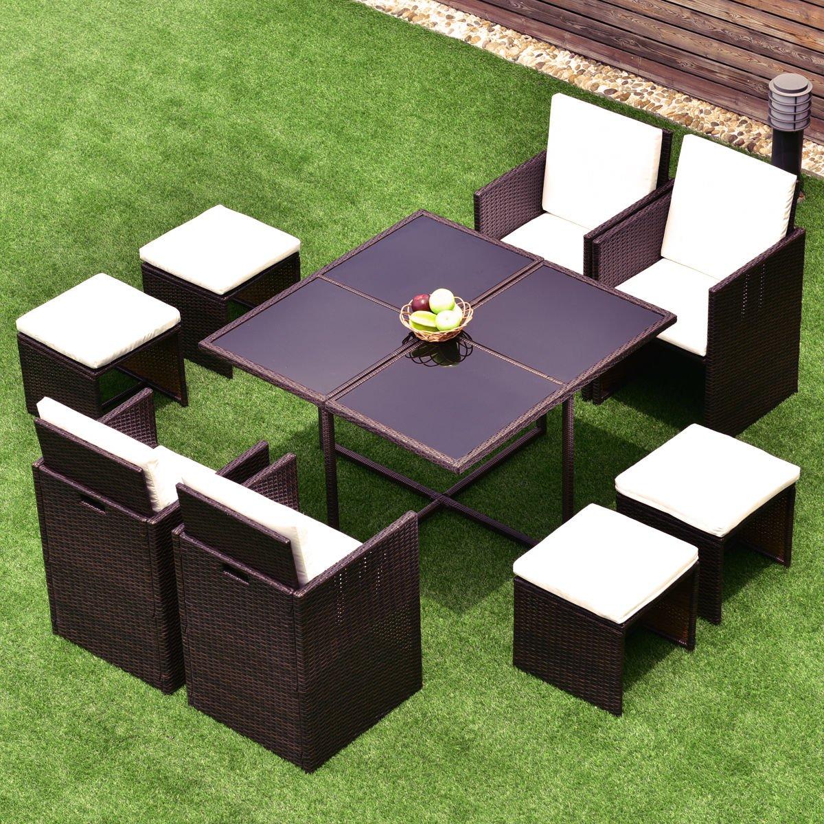 Amazon Com Directsale 9 Pcs Wicker Rattan Cube Garden Furniture