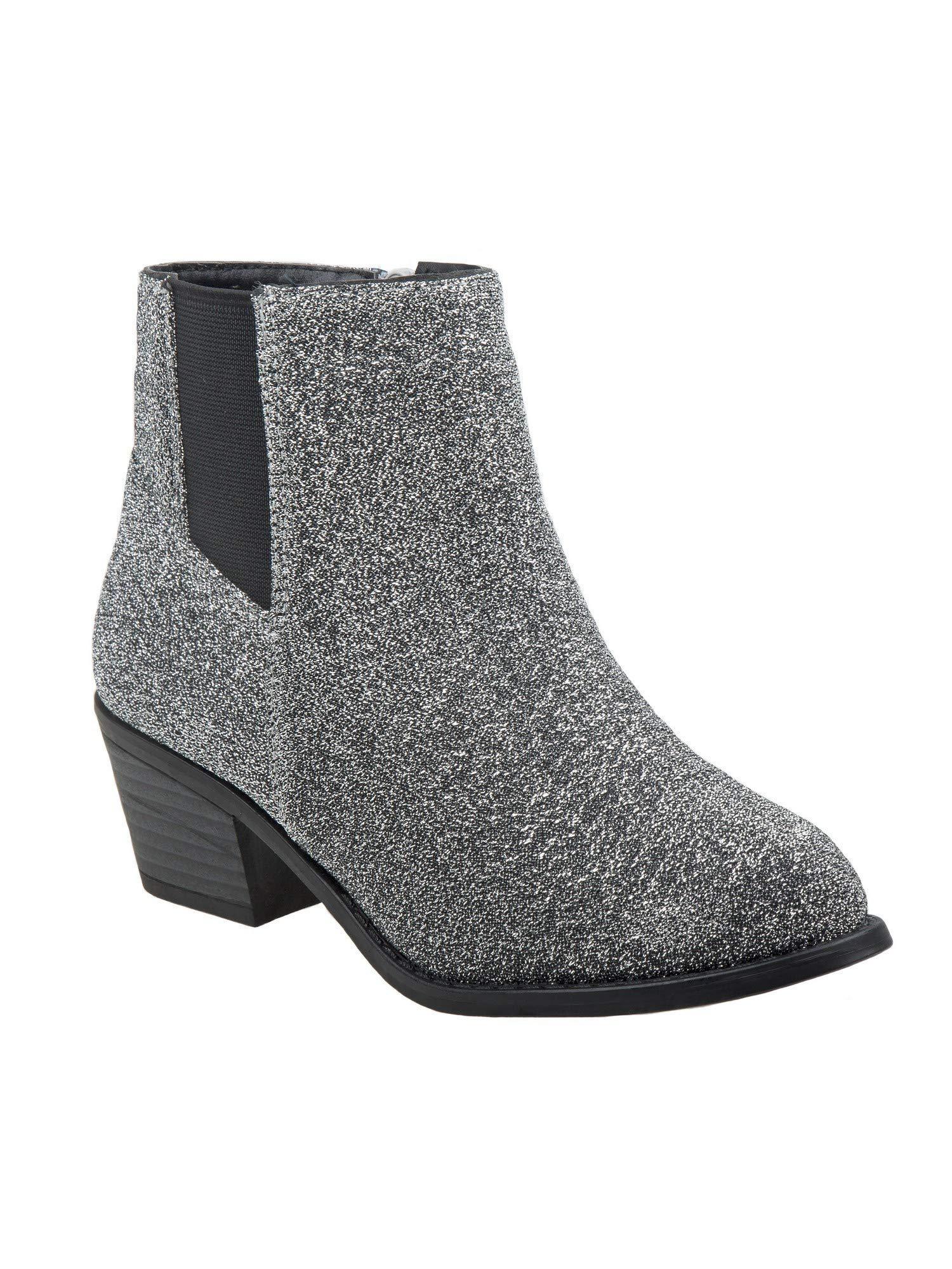 Nanette Lepore Girls Gray Shimmery Texture Side Zip Chelsea Boots 12 Kids