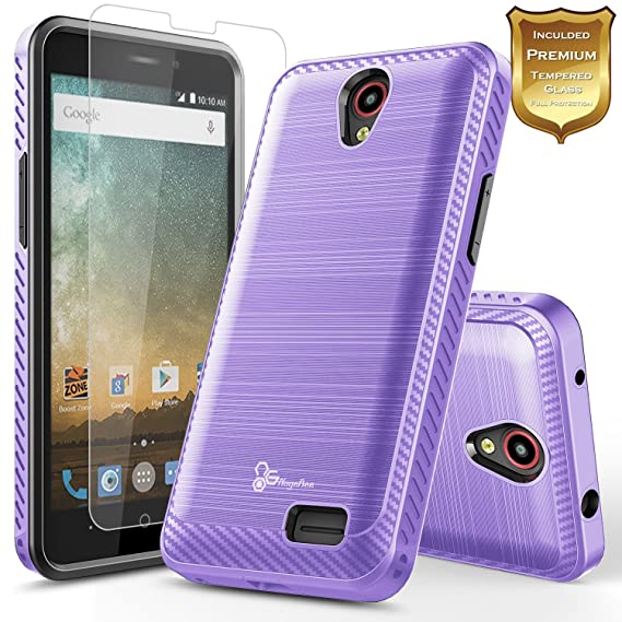 online store 7057f 6d99d NageBee [Carbon Fiber Brushed] [Dual Layer] Protector Hybrid Case  w/[Tempered Glass Screen Protector] Compatible with ZTE Maven 3/ Overture  3/ Prelude ...