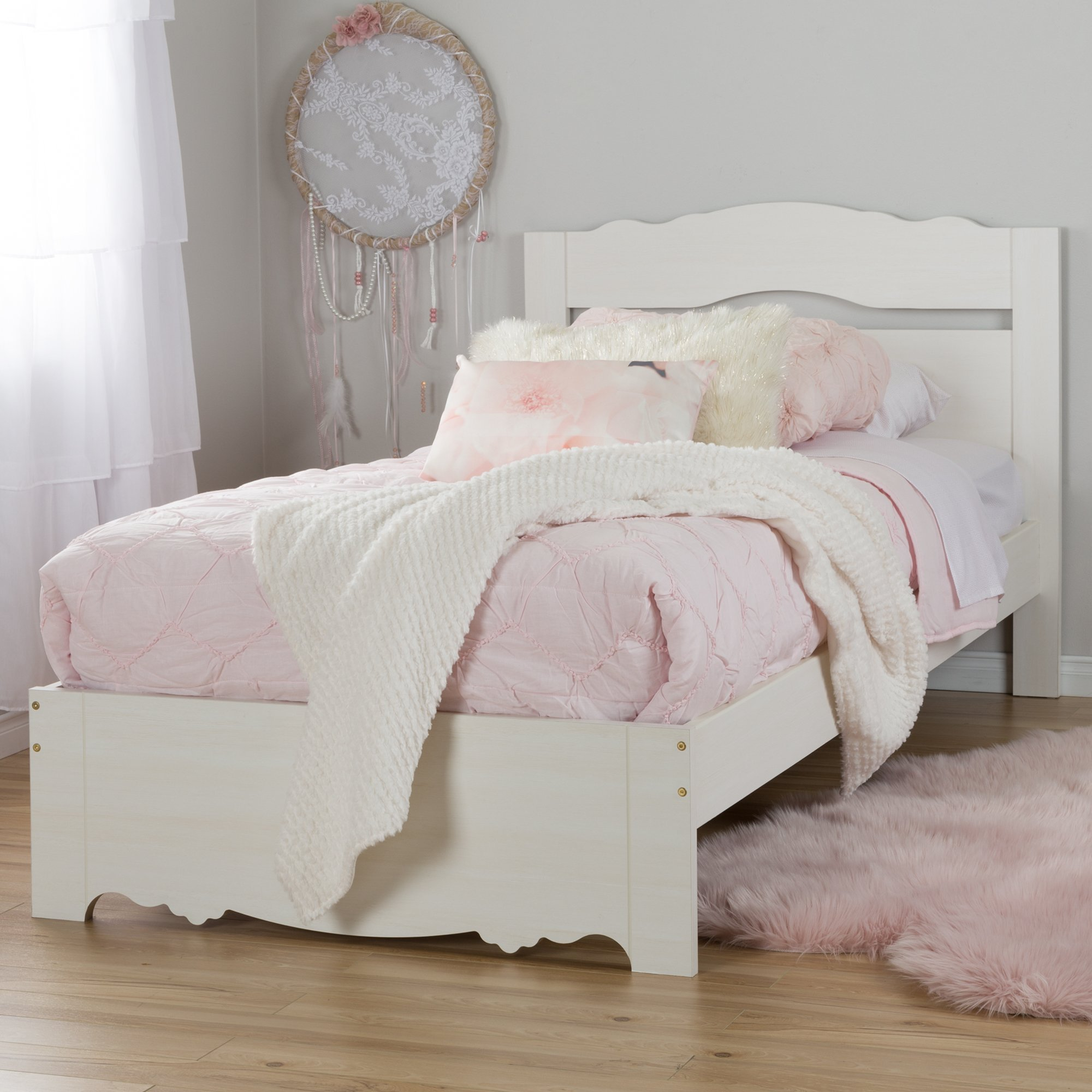 South Shore 39'' Lily Rose Bed Set, Twin, White Wash