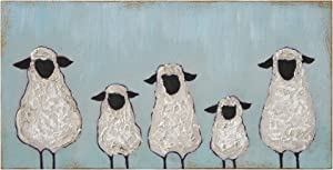 Creative Co-op Hand Painted Five Sheep Wood Wall Décor, 7 Inch x 14 Inch, Green