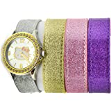 Hello Kitty By Sanrio Analog Watch 4 Strap Bracelet Silver Gold Tone Watch/ Bacelet