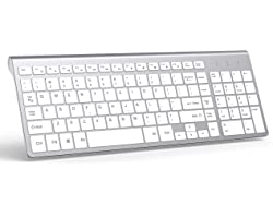 Teclado sem fio, J JOYACCESS 2,4G teclado sem fio fino e compacto, White and Silver