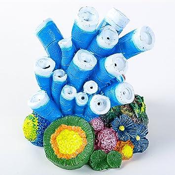 SLSON Adorno de Piedra de Burbujas de Aire para Acuario, Diseño de Estrella de Coral Azul, Bomba de Oxígeno, Manualidades para Decoración de acuarios: ...