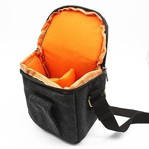 zdMoon Gray Camera case bag Canvas for Sony A5000 A5100 A6000 NEX-5T 5R NEX-7 NEX-6 (Color: grey)