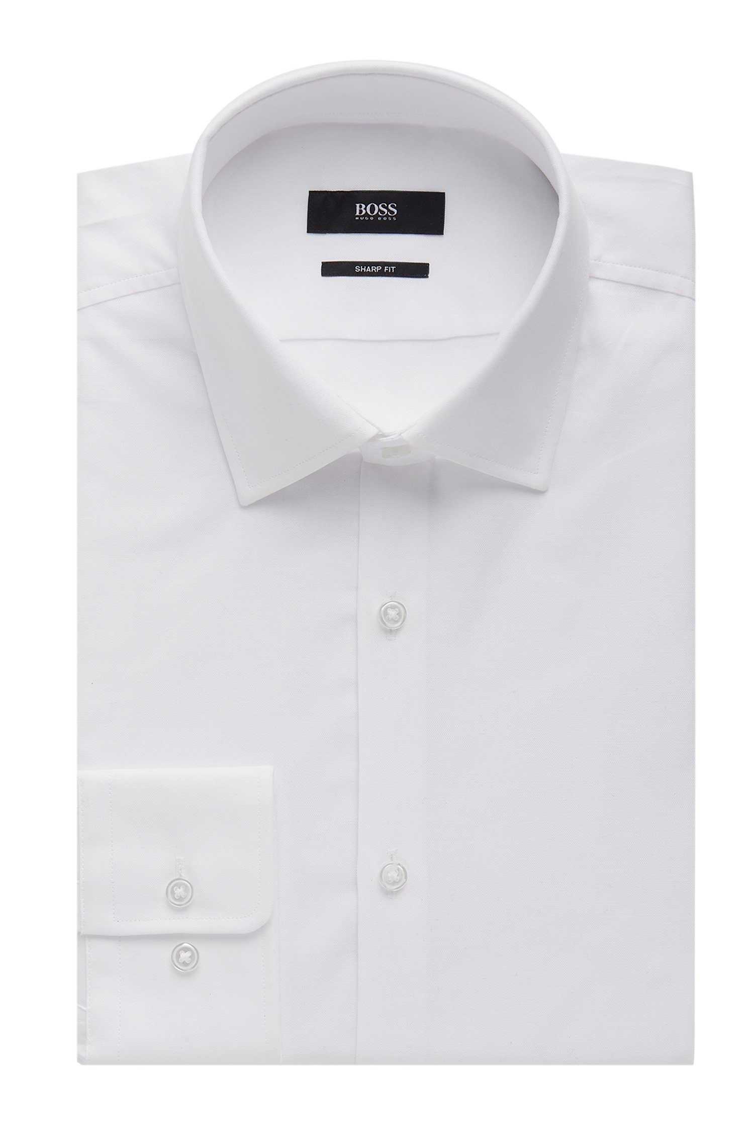 Hugo Boss Nailhead Cotton Dress Shirt, Sharp Fit Marley US (White, 17 x 34/35 )
