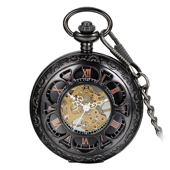 Avaner Reloj de Bolsillo Steampunk Vintage Reloj Mecanico Hueco Esqueleto de Números Romanos, Reloj Medio Cazador Negro Elegante, Buen: Amazon.es: Relojes