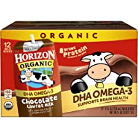 Horizon Organic, Low Fat Milk with DHA Omega-3, Chocolate, 8-Oz Aseptic Cartons (Pack of 12), Juice Box Alternative, Supports Brain Health