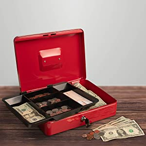 Stalwart Cash Box – Locking Petty Cash Safe with Removable 5 Slot Coin Tray and Key Entry for Yard Sales, Markets and Concession Stands (Red)
