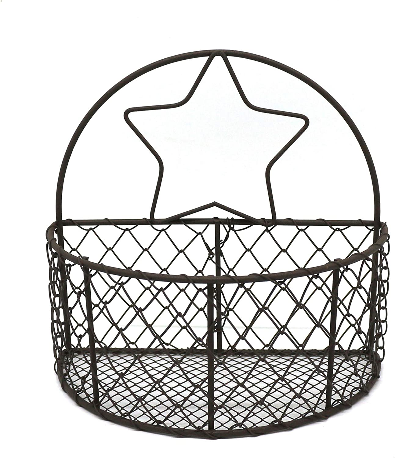 CVHOMEDECO. Wall Mounted Chicken Wire Storage Basket Rustic Hanging Wire Bin Organizer for Kitchen, Pantry, Closets, Bedroom and Bathroom, Rusty, 7-1/2 X 4 X 7-1/8 Inch