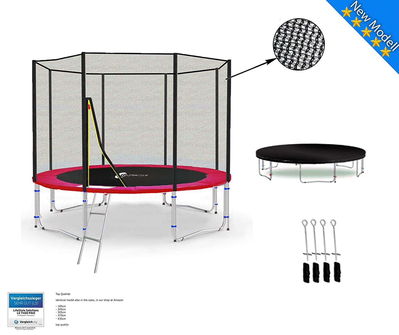 LS-T305-PA10 (RD) LifeStyle ProAktiv Garten- Trampolin 305 cm - 10ft - Extra Starkes Sicherheitsnetz - Neu
