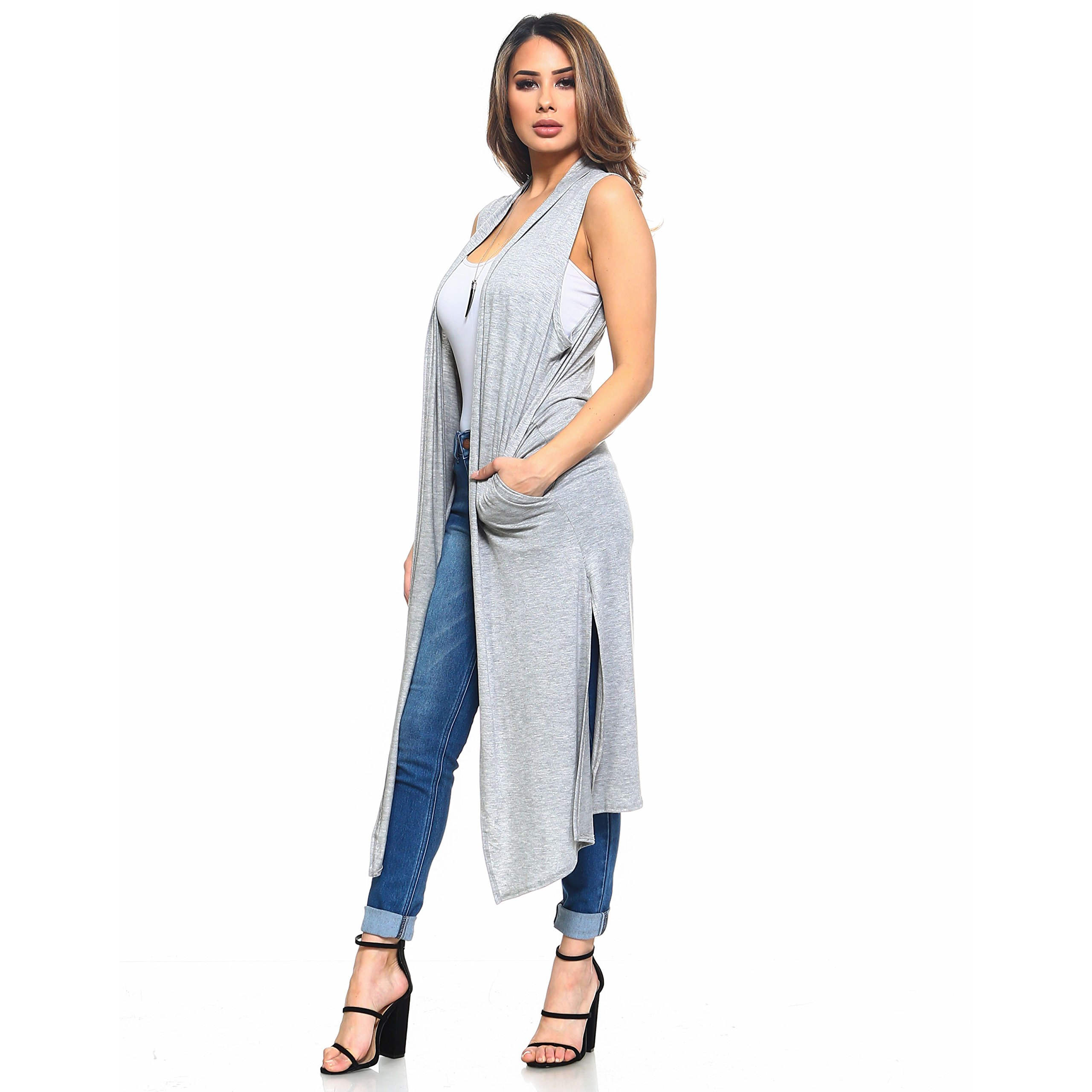 Isaac Liev Women's Long Open Front Cardigan Vest with Pockets and Side Slit (Small, Heather Grey)