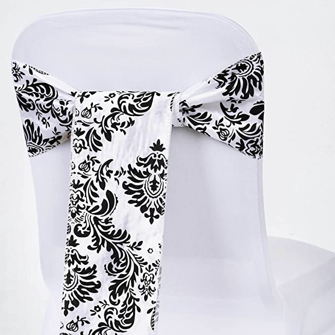 BalsaCircle 10 Black Damask Flocking on White Chair Sashes Bows Ties - Wedding Party Ceremony Reception Decorations Supplies