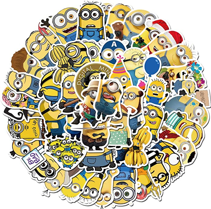 Cartoon Minions Stickers for Kids(50pcs Pack), Waterproof Vinyl Decal for Teen Laptop Skateboard Water Bottle, Cool Stickers for Laggage Travel Case Phone Bike