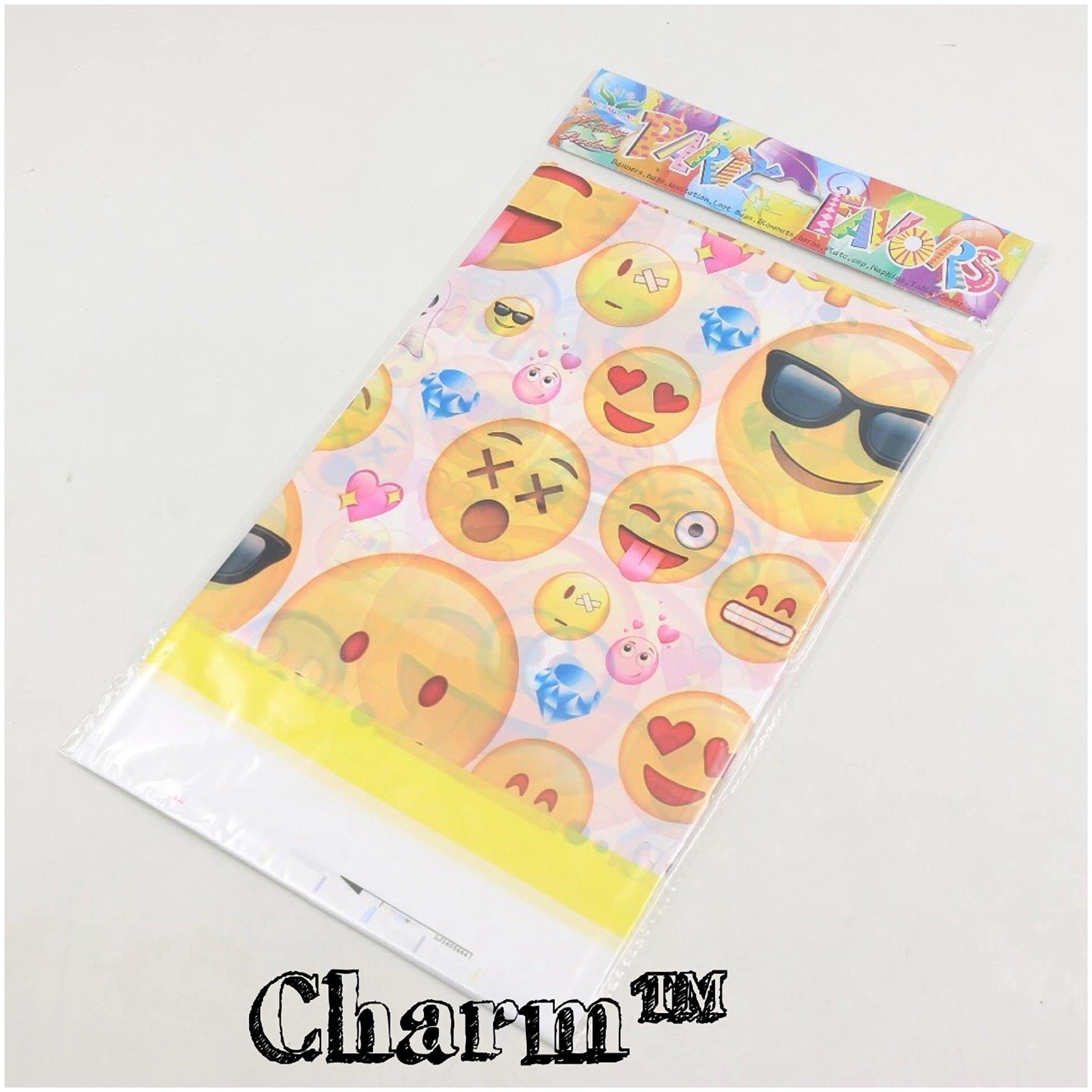 CharmTM Emoji set of 2 Party Tablecloths Plastic 71'' X 42.5'' Emoji Party Essentials by