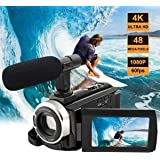 Camcorder with Microphone 4K Camera Video Camera WiFi Camcorders Ultra HD 48MP Digital Camera 3.0'' Touch Screen Night Vision Pause Function