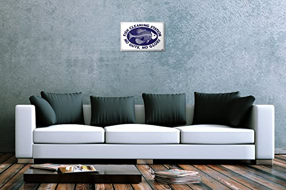 Blechschild Küsten Maritime Wand Deko Fischgräte Sprüche Metallschild 20X30 cm