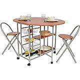ts-ideen Juego de comedor de tres piezas, mesa de desayuno fibra de madera, 79 x 110 cm con ruedas silla sillas para la cociana, comedor, Apto de estudiante u oficina