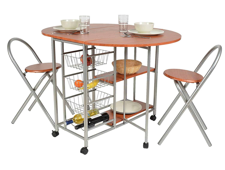 Three piece dining set aluminum and wood fiber walnut appearance ensemble set table chairs kitchen amazon co uk kitchen home