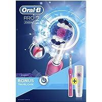 Oral-B 欧乐B 博朗 Pro 2 2500 3D白可充电电动牙刷,带旅行盒,粉色(英国双针浴室插头) - 英国版 粉色带旅行盒