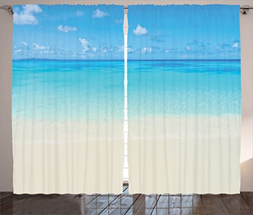 Ambesonne Ocean Curtains, Paradise Beach in Tropical Caribbean Sea with Sky View Beach House Theme, Living Room Bedroom Window Drapes 2 Panel Set, 108 X 90 , Cream Navy