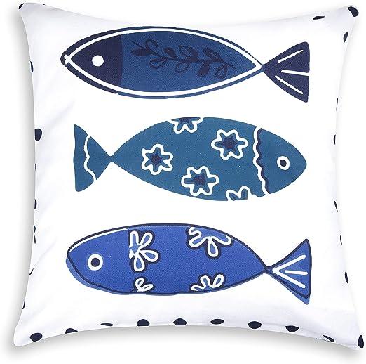 Excelsa Ocean - Cojín Decorativo, algodón y guata, Blanco y Azul ...