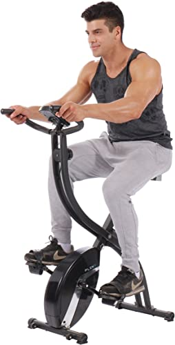 PLENY Foldable Upright Stationary Exercise Bike with 16 Level Resistance, New Exercise Monitor with Phone Tablet Holder