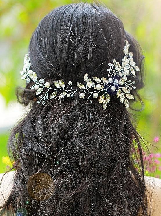 handmadejewelrylady boda brillantes diadema novia pelo Vine para mujer noche  fiesta accesorios para el pelo  Amazon.es  Belleza ef7e45991fd3