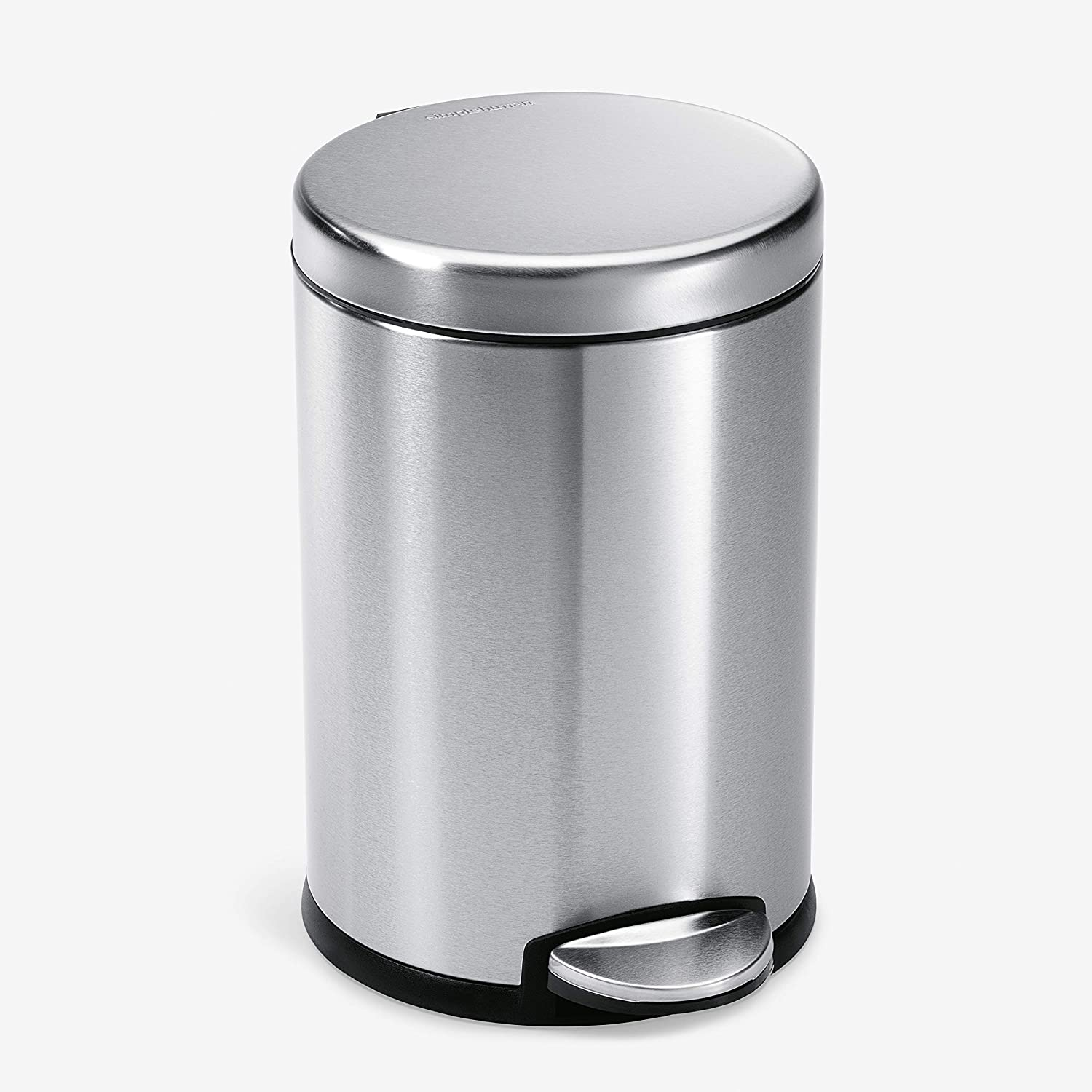 Amazon.com: simplehuman Gallon Round Bathroom Step Trash Can, 4.5 Liter /  1.2 Gallon, Brushed Stainless Steel: Home & Kitchen