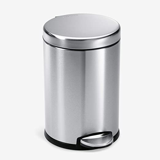 Amazon Com Simplehuman Gallon Round Bathroom Step Trash Can 4 5 Liter 1 2 Gallon Brushed Stainless Steel Home Kitchen