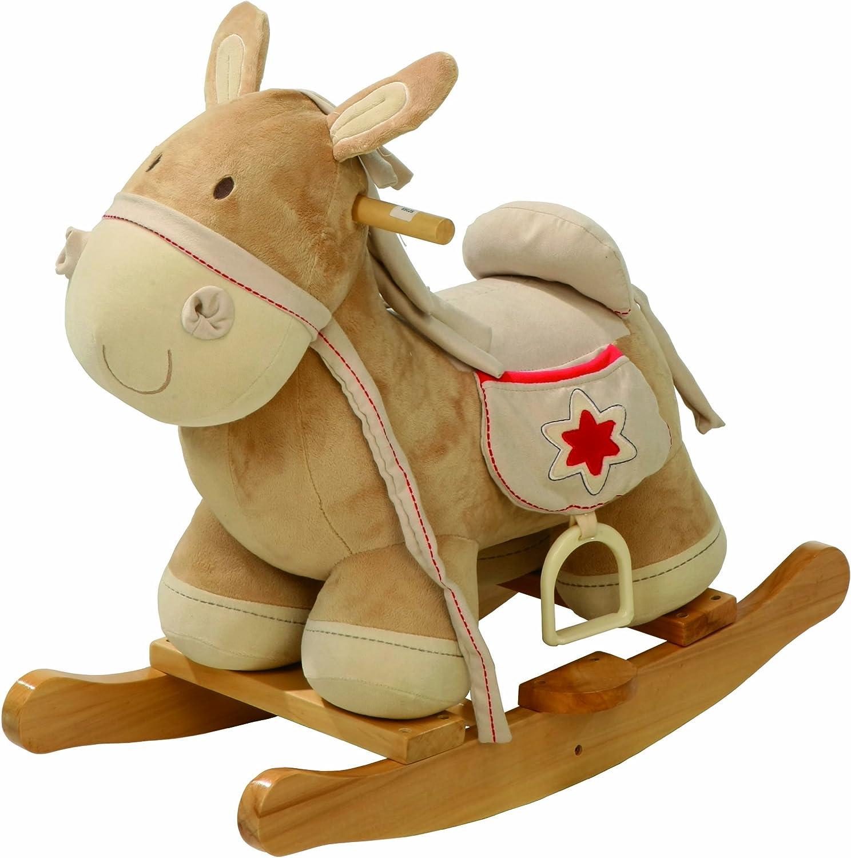 Caballo balancin Roba, balancin de madera tapizado, asiento con estribo, juguete balancin utilizable a partir de los 18 meses.